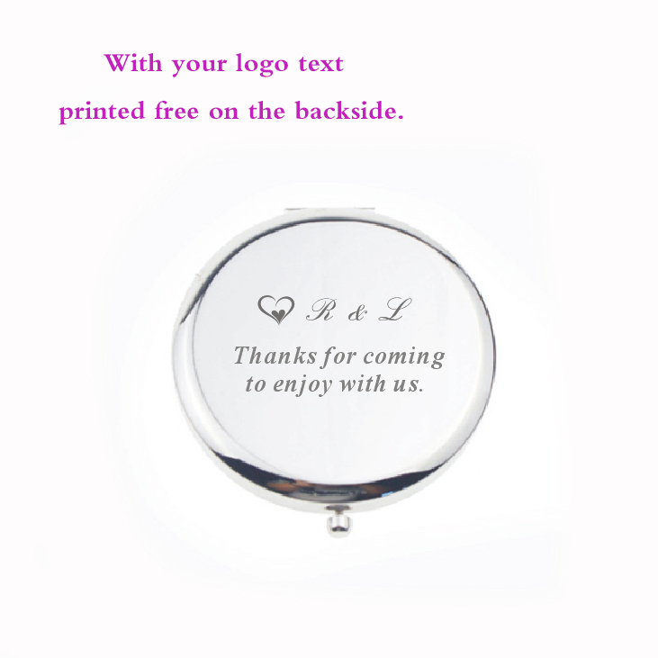 UNIQUE wedding gifts For guest NIce quality Women Makeup Mirror personalized wtih your wedding name and wedding date 30pcs lot in Party Favors from Home Garden