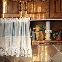 Senisaihon корейский половина-Шторы чистый белый Вышивка синий в полоску римские Шторы Кружево низ Кофе Шторы для Кухня двери шкафа