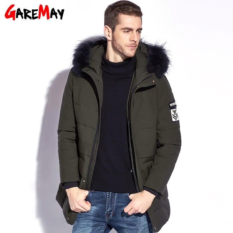 Garemay 2018 invierno hombre engrosamiento chaqueta ocasional mens del algodón Chaquetas Pieles de animales globo grueso Abrigos encapuchados parka invierno
