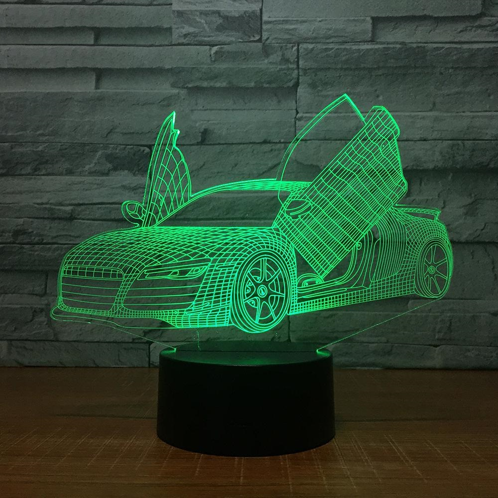 Multi Choice Cool Sports Car Auto 3D Night Light Novelty 7 Colors Changing LED Desk Table Lamp 3D Illusion Lamps For Boys Gifts novelty 3d full moon lamp led night light usb rechargeable color changing desk table light home decor 8 10 12 15 18 20cm