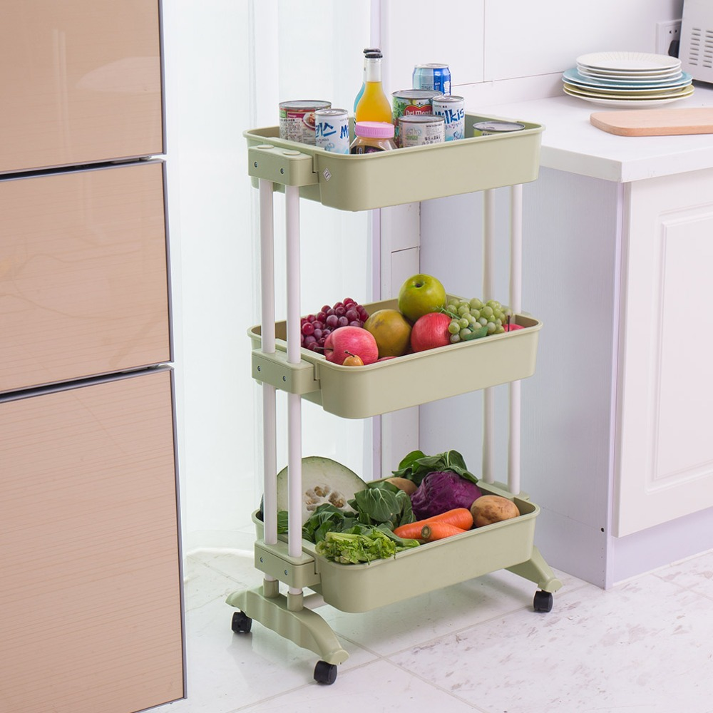 3 tiers storage rack kitchen trolley cart rolling with - Bathroom storage cart with wheels ...