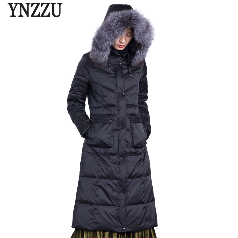 Brand 2018 Winter Women's   Down   Jacket Elegant Slim Extra Long with Large Real Fox Fur Collar Hooded Warm Duck   Down     Coats   AO634