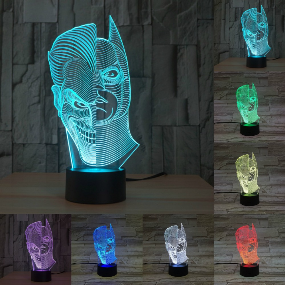 Novelty touch visual 3D Illusion Lamp Double face shape with batman shape LED Night Light USB lamp for christmas gift IY803341