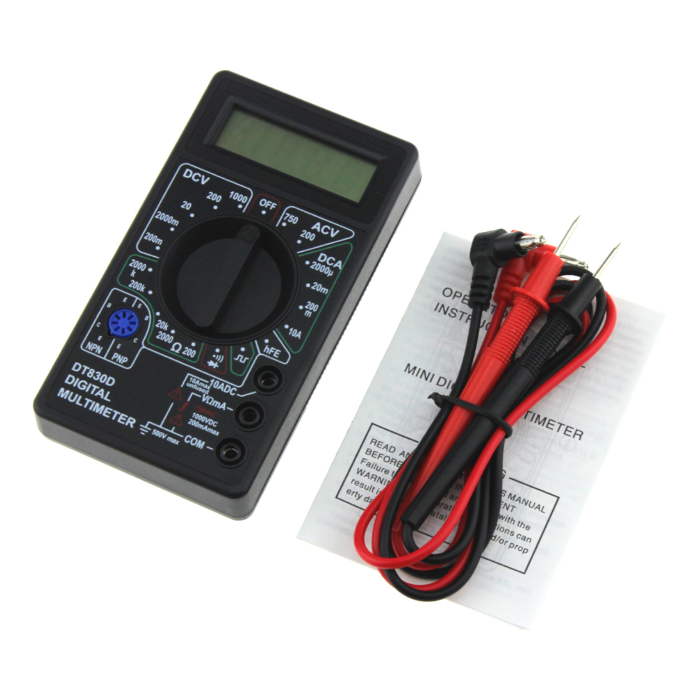 DT830D Mini Digital Multimeter Voltmeter Voltage Ampere Ohm Tester  DC AC  Ammeter  Power Meter Test With Lead Probe Buzzer