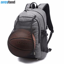 Multifunction Basketball Backpack Man Gym Bag 15.6 inci Laptop Beg Bahu dengan Bola Keranjang Net USB Mengecas Port Male Bag