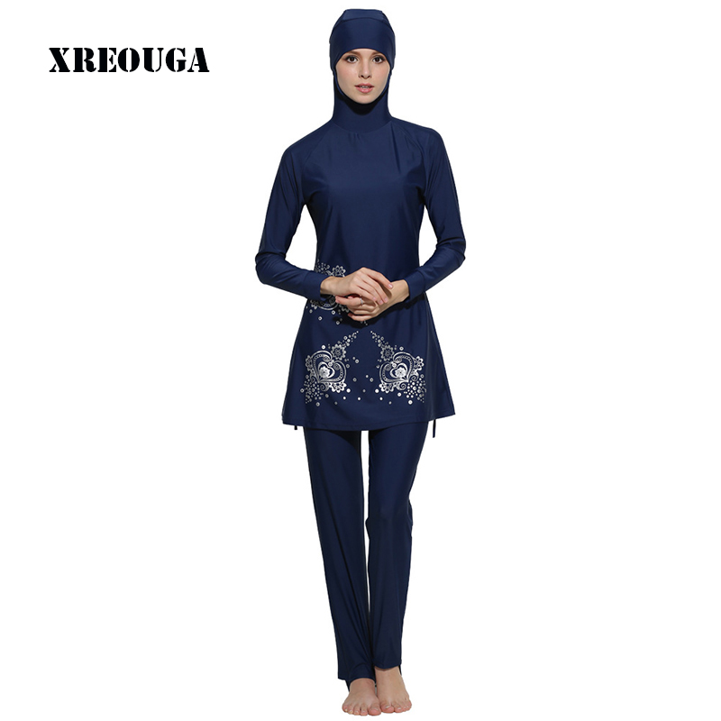XREOUGA 2017 Floral Print Islamic Women Girls Swimwear Muslim Full Cover Swimwear Modest Islamic Plus Size Swimming Suits MS01 ...