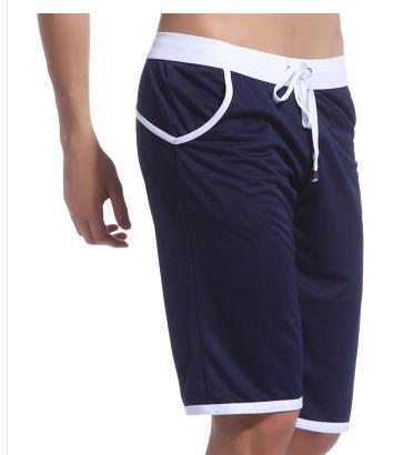 WJ Летние повседневные спортивные шорты, мужские брюки, эластичные Брендовые мужские капри, модные облегающие спортивные шорты длиной до колен, быстросохнущие шорты для тренировок - Цвет: Синий