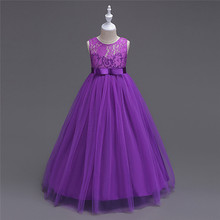 European Style Summer Lace Flower Girl Dress Hollow Jacquard Ball Gown Floral Bow Pattern Princess Vestido Clothes 5 to 14 Years