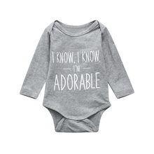 Toddler Infant Toddler Baby Boys Letter Long Sleeve Bodysuit Playsuit Jumpsuit Clothes Baby Boy Bodysuits Casual(China)