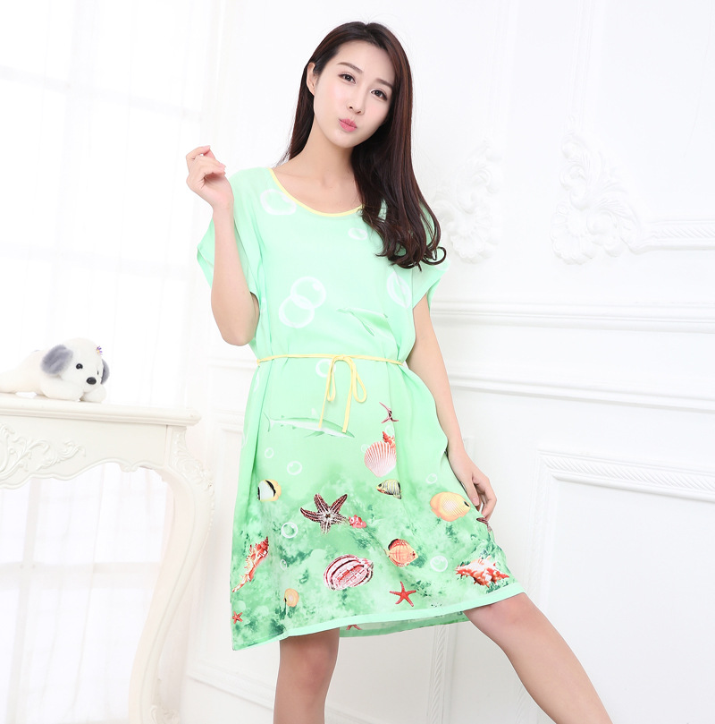 Summer Cotton Women Printed   Nightgown   Female Casual Outwear Lady Fashion Print   Sleepshirt   Girl Pijama Home Clothing B-5414