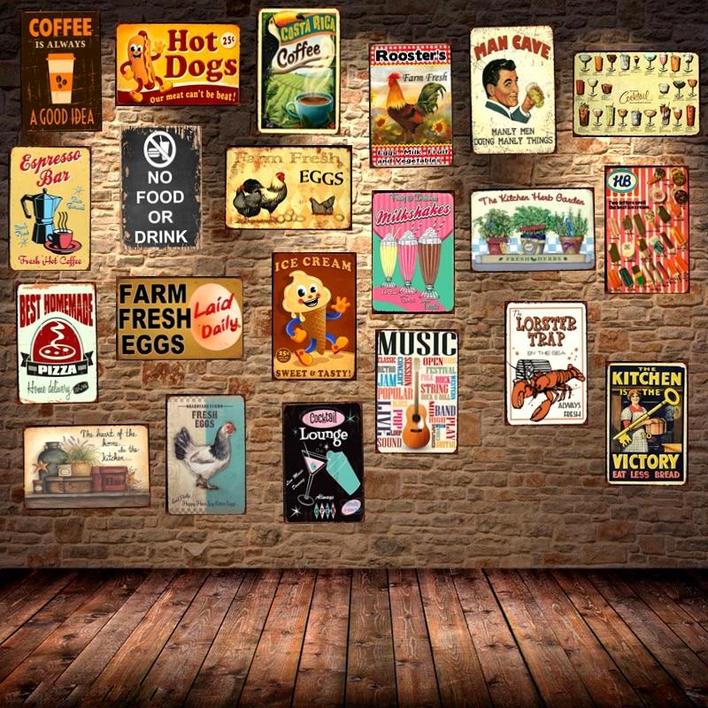 Oeufs produits Vintage Tin Signe Plaque Peinture Bar Café Maison de Mur En Métal Art Décor 30X20 CM DU-1279