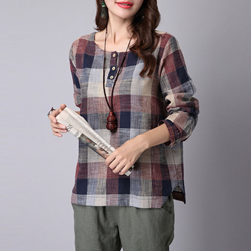 2018 ZANZEA Women Spring Long Sleeve Buttons Tartan Shirt Cotton Linen Vintage Plaid Check Work Blouse Baggy Party Top Plus Size