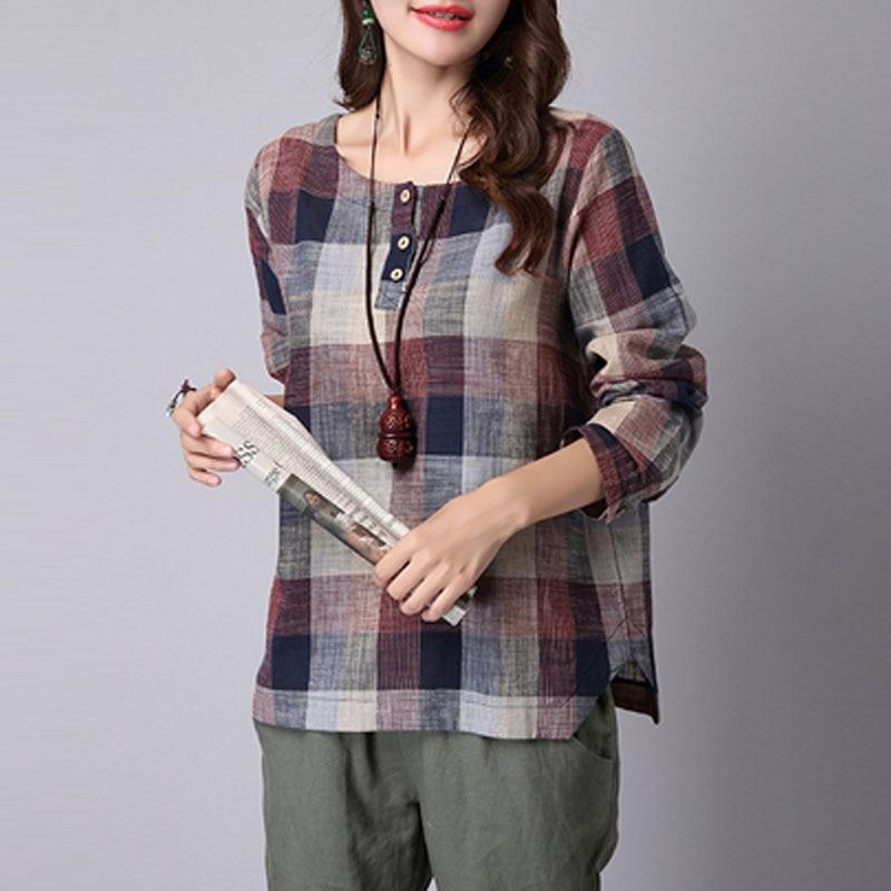 2018 ZANZEA Women Spring Long Sleeve Buttons Tartan Shirt Cotton Linen Vintage Plaid Check Work Blouse Baggy Party Top Plus Size