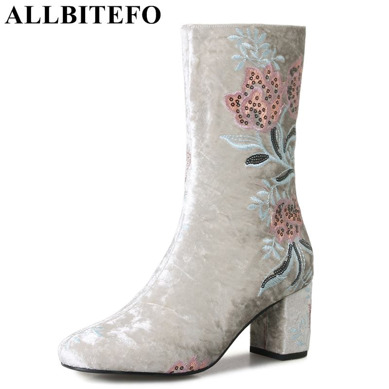ALLBITEFO High quality embroider flowers design women boots fashion motocycle boots girls mid-calf Autumn winter boots shoes