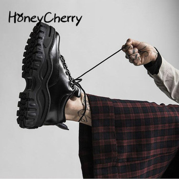 ¡Novedad de primavera otoño 2020! Zapatos de mujer de alta gama de suela gruesa de esponja para pastel, zapatos negros feos, zapatos de plataforma informales delgados, zapatillas de deporte para mujer