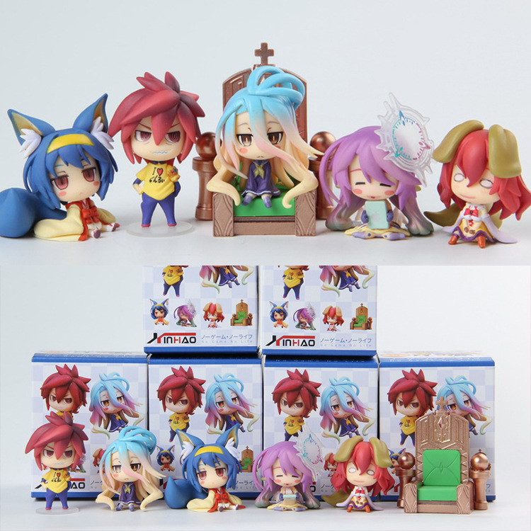 6cm 6pcs/set NO GAME NO LIFE Jibril Sora Shiro Kramy Zell Steph Action figure toys doll Christmas gift with box image
