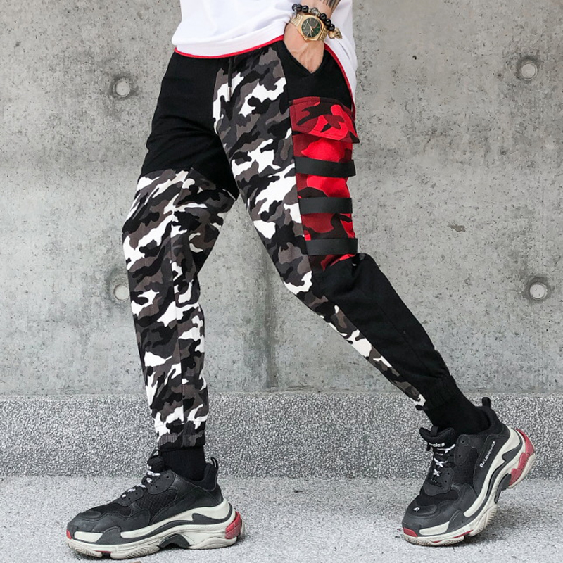 April MOMO 2019 Men Spring Camouflage Patchwork Hip Pop Pants Sweatpants Trousers Pencil Pants Male Casual Fashion Streetwear-in Skinny Pants from Men's Clothing