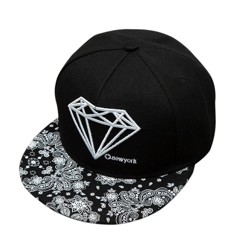 Fashion Unisex Snapback Caps Adjustable Baseball Cap Bone Diamond Printed Hats Casual Hip Hop Baseball Hats Street Skateboard
