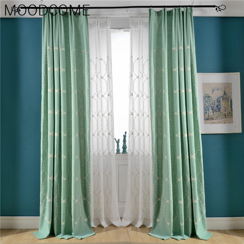 2018 New Simple Curtains For Living Dining Room Bedroom Cotton Embroidery  Curtain Fabric Shading Blinds