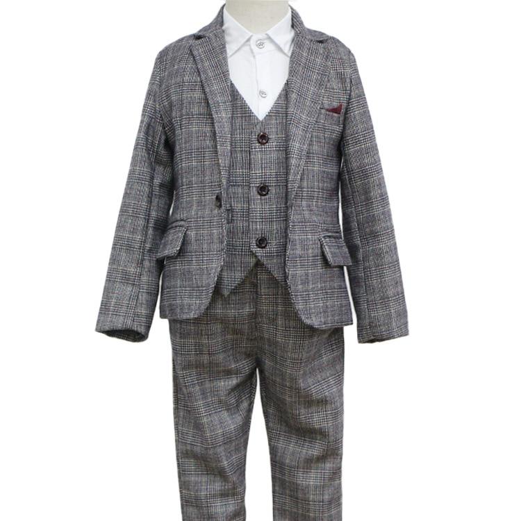Baby Boys Clothing Sets Winter 2018 Cotton Plaid Vest Shirt Pants 3 Piece Set Boy Kids Clothes Costume Children Clothing 3cs223