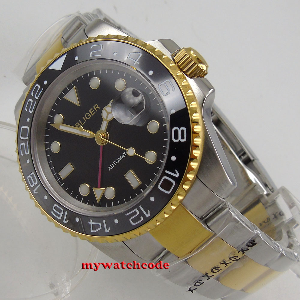 лучшая цена 40mm bliger black dial sapphire glass golden plated case GMT automatic men watch