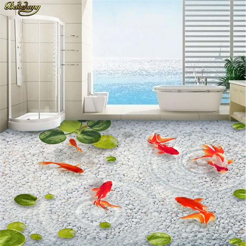 beibehang Custom Photo Wallpaper Floor Painting Sticky Duck Leaf Goose Soft Rock Water Fish Bathroom Bedroom 3D Floor 3d wallpaper custom 3d flooring painting wallpaper murals nine fish 3d stereograph floor pebbles lotus leaf room photo wallpaper
