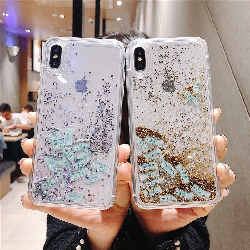Water Liquid Case for iPhone 8 Cases Flowing Dollar USD Glitter Quicksand Soft Silicone Cover for iPhone 7 8 Plus 6 6S X XS Max iPhone