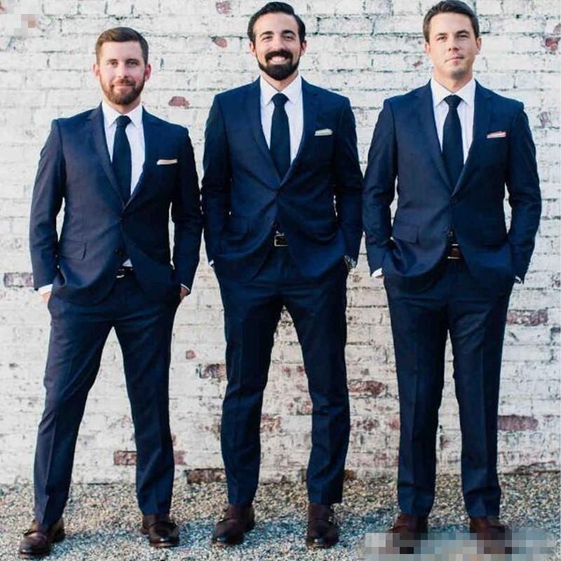 207 Fashion Custom Made Men Suit Bestmen Groom Navy Blue Wedding Tuxedos Formal Suits Business Men Wear(Jacket+Pants+Tie) Navy Blue