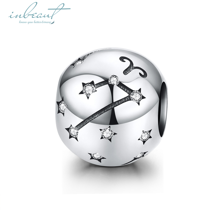 inbeaut Silver 12 Constellation Beads Round CZ fit Original Bracelets Capricorn Aquarius Leo Scorpio S925 Charms DIY Jewelry in Beads from Jewelry Accessories