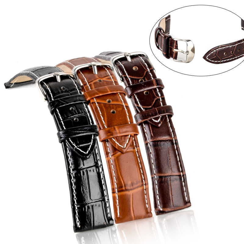 18mm/20mm/22mm/24mm Genuine Leather Watches Band Brown Dark brown Black Steel Buckle Sport WristWatch Band Strap Belt 24mm buckle 22mm top grade high quality brown genuine leather watch bands strap tg108b mens watches band leather watchband belt