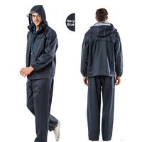 Yuding Fishing Jackets Raincoat Polyester Rain Coat Men Women Rain Pants Rainwear Navy Blue/Blue Color Motorcycle Rainwear