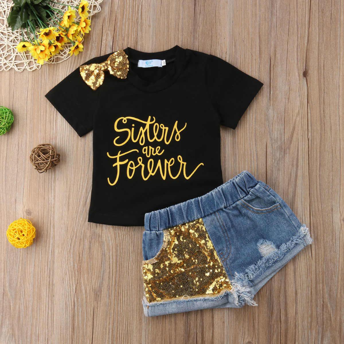 951285613ee3 2018 niños bebé niña Bowknot camisetas Top negro + lentejuelas oro  pantalones vaqueros ropa conjunto de moda de verano