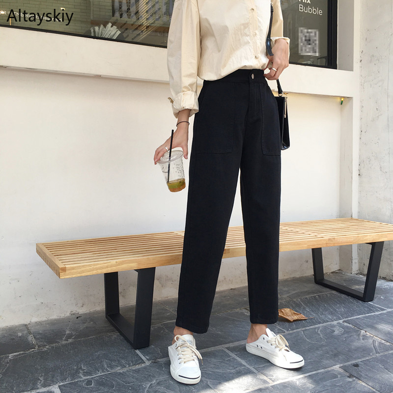 Jeans   Women Solid Colour Black Loose Single Button Korean Style Students All-match Womens Wide Leg Trousers High Quality Chic