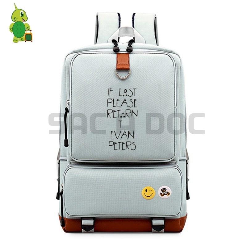 US $23 09 30% OFF|American Horror Story Evan Peters Backpacks School Bag  for Teenagers Students Canvas Laptop Backpack Women Men Casual Travel  Bag-in
