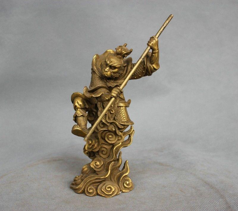 8 Китай миф Бронзовый Защита от солнца Укун Король обезьян удерживая палку бороться статуя