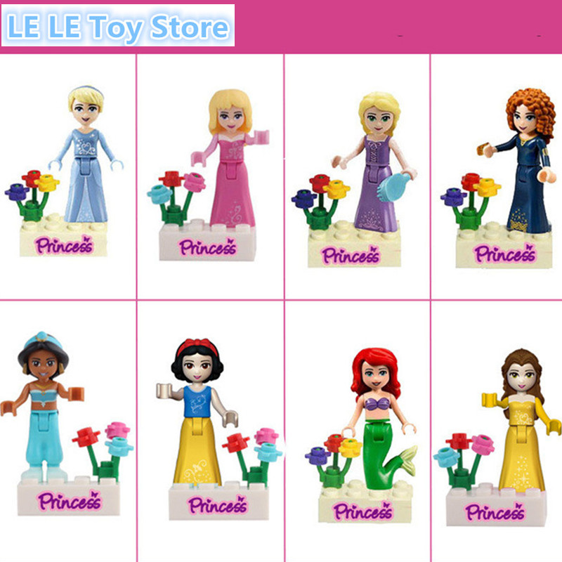 8pcs Princess Jasmine Aurora Cinderella Ariel Rapunzel Snow White Bella Building Block Girls For Xmas Gifts for Kids princesses toys snow white merida rapunzel belle tiana ariel jasmine mulan pvc figures gifts for girl 11pcs set