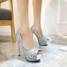 Women Pumps Shoes Bling Peep Toe Fashion