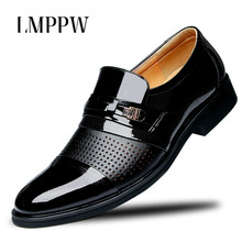 New 2019 Men Dress Shoes Leather Casual Italian Fashion Office Black Brown Pointed Flat Oxfords 2.5