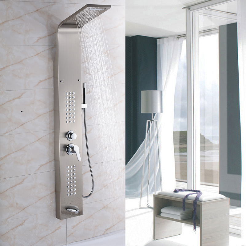 Factory Retail Brushed Nickel Shower Panel with Brass Hand Shower ...
