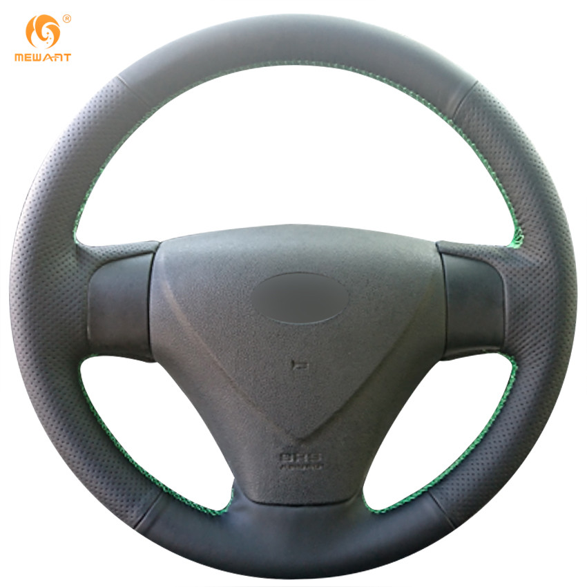 MEWANT Black Artificial Leather Car Steering Wheel Cover for 2005-2009 Kia Rio 2007 Rio Hyundai Accent Hyundai Getz