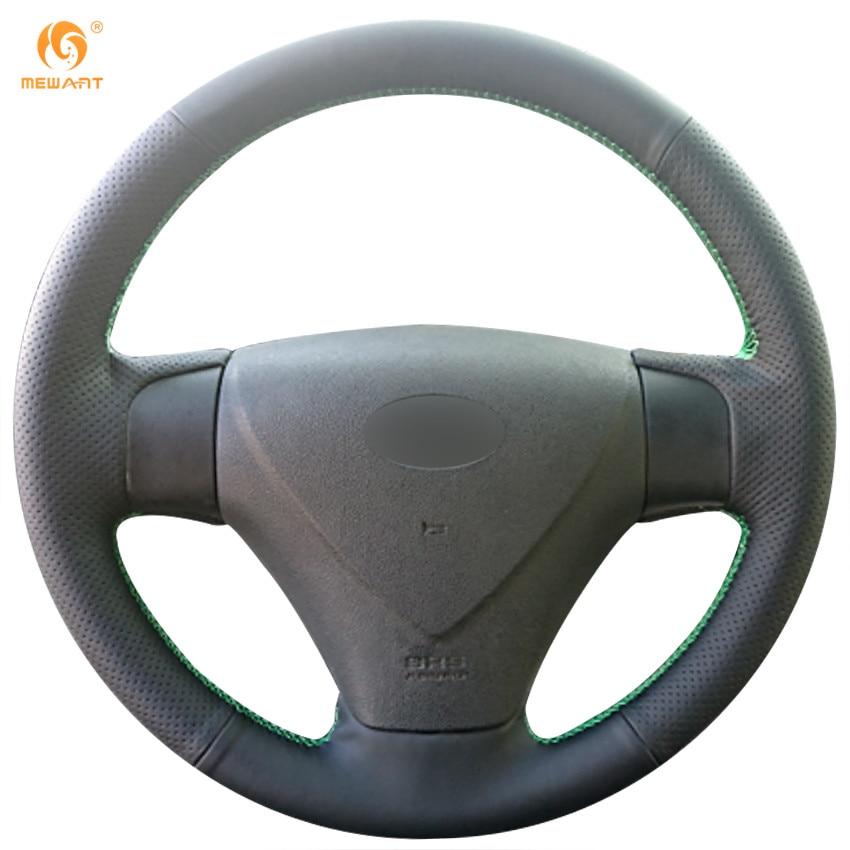 MEWANT Black Artificial Leather Car Steering Wheel Cover for 2005-2009 Kia Rio 2007 Rio Hyundai Accent Hyundai Getz