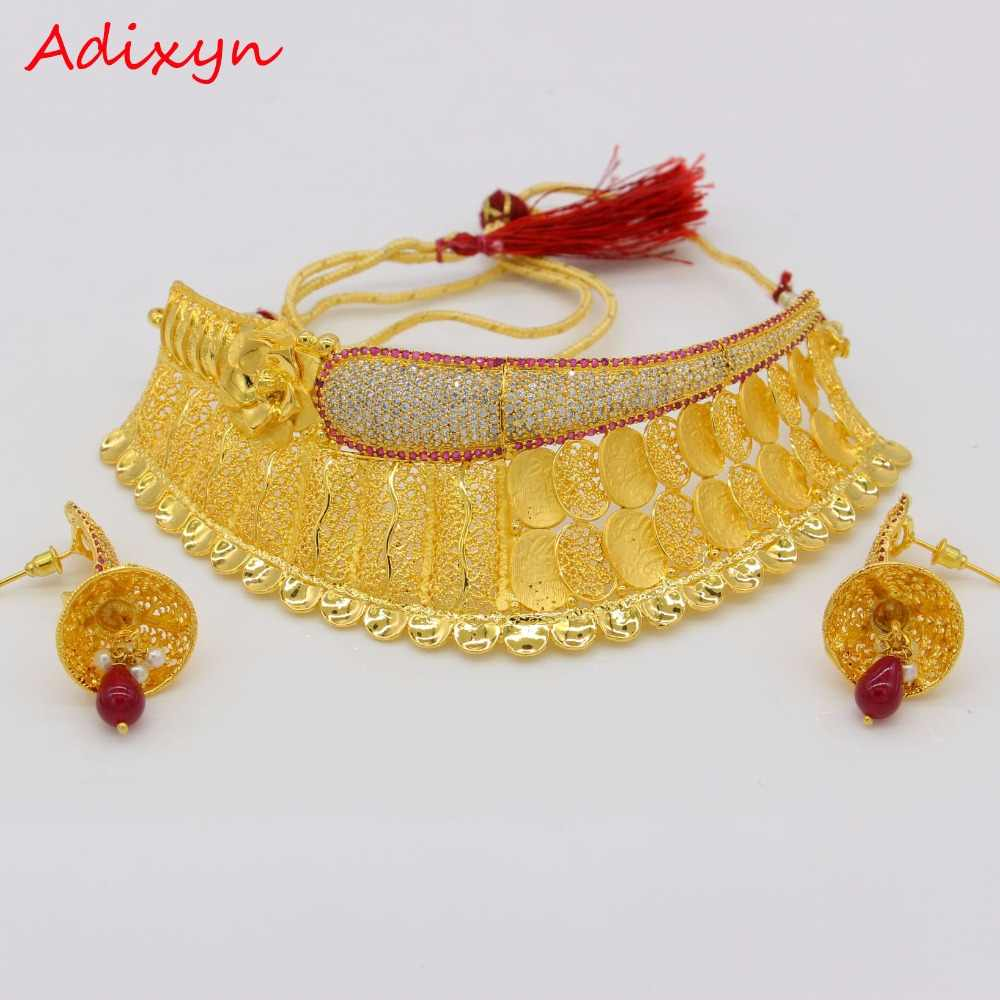 Adixyn Classic Red Corundum Necklace/Earrings Jewelry Set Gold Color Cubic Zirconia African/Ethiopian/ Women Wedding Accessory