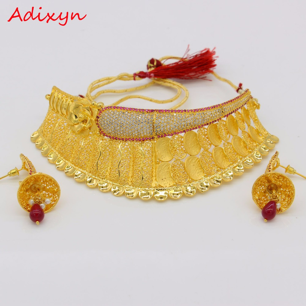 Adixyn Classic Red Corundum Necklace/Earrings Jewelry Set Gold Color Cubic Zirconia African/Ethiopian/ Women Wedding AccessoryAdixyn Classic Red Corundum Necklace/Earrings Jewelry Set Gold Color Cubic Zirconia African/Ethiopian/ Women Wedding Accessory