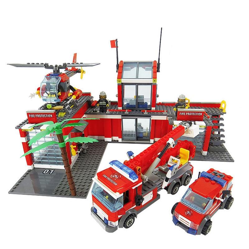 compatible with legoinglys City Fire Station 774pcs/set Building Blocks DIY Educational Bricks Kids Toys Best Kids Xmas Gifts
