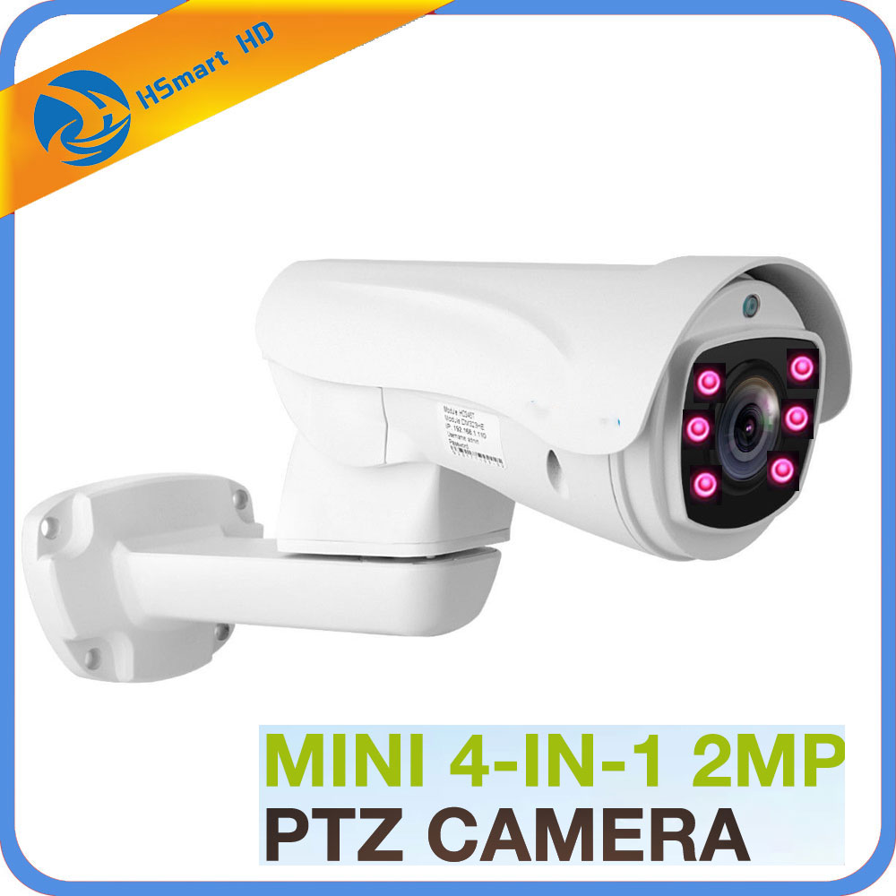 AHD Bullet Camera HD 1080P 4 in 1 CVI TVI Outdoor 5X 10X Pan Tilt Zoom 5-50mm Autofocus Varifocal 2.0MP PTZ Camera IR 100M 6LED hd 1080p pan