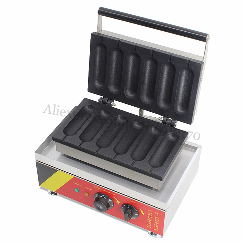 Electric Sausage Baking Machine Commercial Lolly Hotdog Waffle Maker Stainless Steel With Six Moulds 220V 110V lolly waffle baker commercial snack machine stainless steel tower shaped lolly waffle machine with six pcs lolly waffle moulds