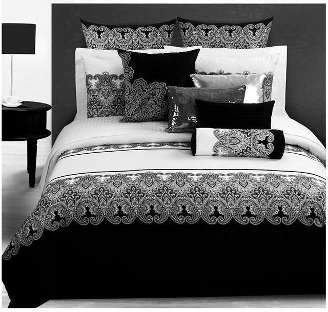3d ensembles de literie classique noir blanc r tro paisley literie linge de lit housse de. Black Bedroom Furniture Sets. Home Design Ideas