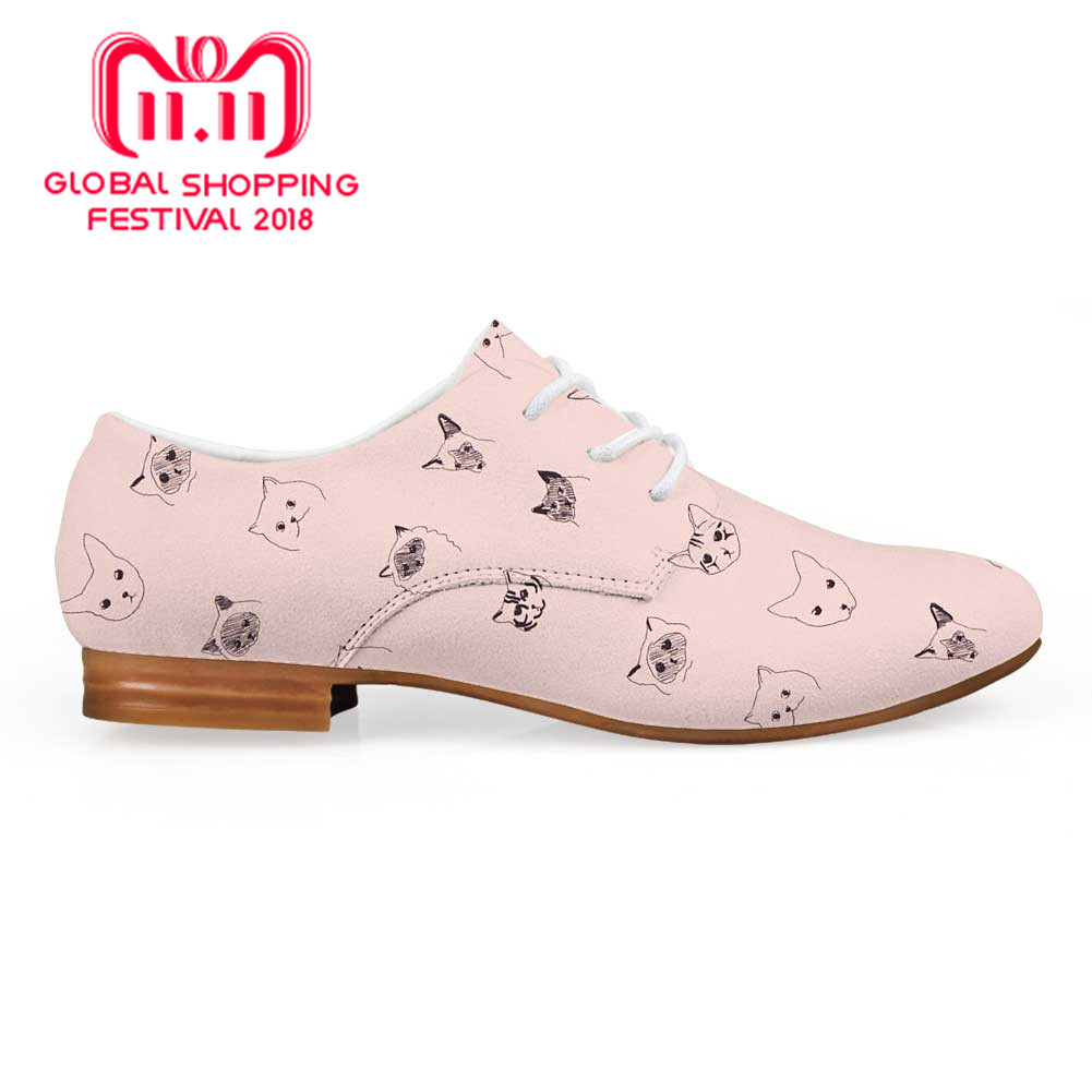 Somali Female Business Dress shoe Cat Pattern Print Woman Casual Leather Oxfords Girls Flats Lace up Derby shoe Loafers cat print hooded dress