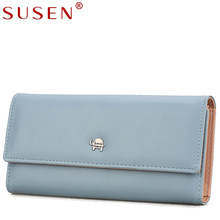SUSEN new fashion solid long women wallet convenient high quality leather handbags multi-card large-capacity hasp simple purse