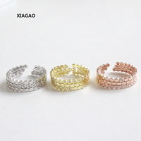 XIAGAO 925 Sterling Silver Open Rings Three Sets Of Micro Cubic Zircon Adjustable Finger Rings Fashion